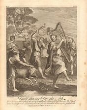 1770  ANTIQUE PRINT -BIBLE- DAVID DANCING BEFORE THE ARK