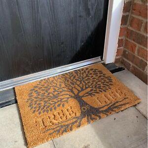 Tree Of Life Doormat Rectangular 60x40cm Non-Slip PVC Backed Coir Door Mat