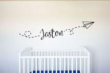 Custom Name Flying Paper Plane - Vinyl Decal Wall Art Decor v2