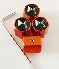 CITROEN DS Orange Wheel Valve Dust Caps anti vol tous les modèles DS 3 incurvées