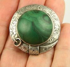 Superb antique Victorian c1890 silver Scottish agate malachite brooch pin