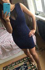 Lipsy Glitter Party Dress. Midnight Blue. Size 8. Sexy Party Dress