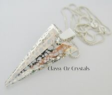 Necklace made with 39mm Swarovski Rose Patena Spike & 76cm Sterling Silver Chain