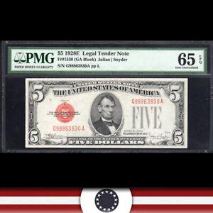 1928-E $5 LEGAL TENDER * RED SEAL* PMG 65 EPQ Fr 1530  G98863830A