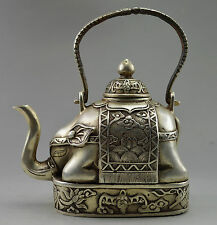 Collectible ! Decorated Old Handwork Tibet Silver Carve Flower Elephant Tea pot