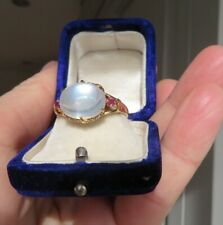 Antique Vintage Moonstone, Rubies & 18ct Gold Ring size N