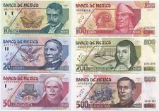 Mexico, set of 6 notes, 10-500 Pesos 1994-95 UNC, P105-110, matching low s/n, A