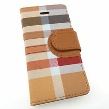 iPhone 5/6/7/7PLUS Quality Wallet Case PU Leather Plaid Stripe Credit Card Slots