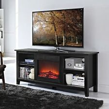 2-in-1 Black Wood Tv Stand with Electric Fireplace Space Heater Free Shipping