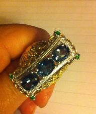 London Blue Topaz Ring, Sz 7,( 4.27Cts) 14kt YG Accents/plat Over SS.