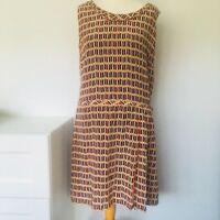 TOAST Tunic DRESS Size 12 White Black Red | Checkerboard Ikat Easy-Fit Layering