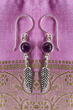 485 Amethyst feather earring solid 925 sterling silver rrp$39.95