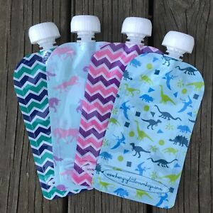 150ml Reusable Food Squeeze Pouches 1, 5 or 10 Pack BPA Free
