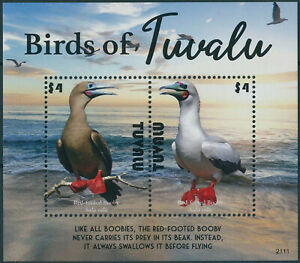 Tuvalu 2021 MNH Birds Stamps Boobies Red-Footed Booby 2v S/S
