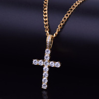 Mens Womens Gold Plated Diamond Cross Pendant Necklace With Rope Chain