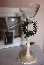 Windlichtaufsatz für Kerzenhalter Teelichtglas gestreift Ø13,5cm /H9 Kerzenglas