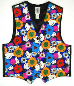 Vintage 70s Mickey Mouse Waist Coat Vest Sz S Mickey Co  Colorful Faces Floral
