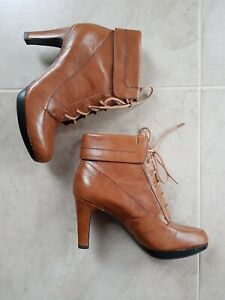 Naturalizer Leather Ankle Boots Tan Size 6.5