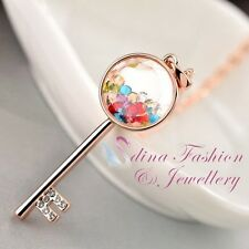 18K Rose Gold Plated Simulated Crystals Lovely Multicolored Key Necklace