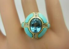 14k Yellow Gold Blue Topaz Turquoise and Diamond Ring