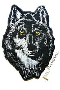 WOLF Embroidered Animal Black Iron/Sew On Patch Biker Heavy Metal Badge 10x7CM