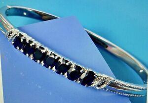Natural Thai  black spinel Bangle bracelet 6.93 CTW stainless steel 7.25 inch