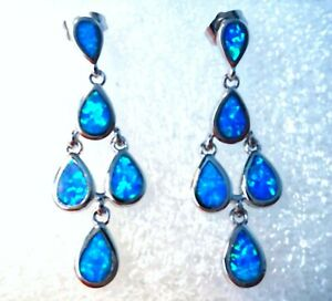 UK**NEW* 925 SILVER GORGEOUS BLUE FIRE OPAL DROP 5 STONE EARRINGS  30 X 10 mm