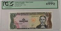 1978-79 Dominican Republic 1 Peso Oro Note SCWPM# 116a PCGS 65 PPQ Gem New