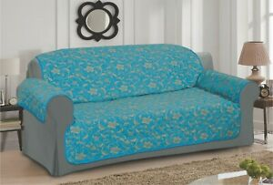 TEAL GOLD SOFA - SETTEE SLIP COVER / PET PROTECTOR (QUILTED) FLORAL DESIGN