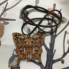 Cherry Wood Butterfly Necklace Leather Cord FREE SHIPPING !!
