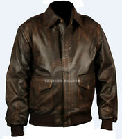 Aviator A2 Flight Distressed Brown Real Leather Bomber Biker Jacket XS S M L XL