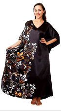 Full Length Satin Charmeuse Caftan One Size Up to 3X NWT Black/Gold