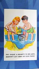 Comic Postcard 1960s CRAB Fishing Net Beach Rock Pools Theme