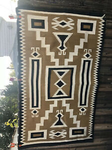 """Beautiful Vintage Tightly Woven Navajo Rug About 6'8""""X About 4'"""