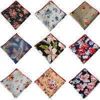 Men Cotton Flower Floral Pocket Square Handkerchief Wedding Hanky New Arrival