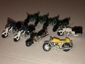 9 Vintage Die Cast MOTORCYCLES Matchbox Toy Cars HARLEY DAVIDSON HONDA POLICE