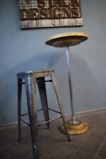 Small Industrial Poseur Table, 50cm top, Reclaimed Scaffold Board and Steel