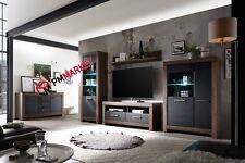 Living Room Wood Effect Furniture Tall Display Wall Unit TV Unit Cabinet SAVANA