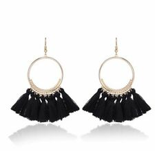 Gold Black Long Drop Tassel Fashion Earring Boho Festival Party Boutique Uk