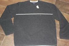 NWT Mens Aeropostale Sweater. Charcoal Gray White Stripe Crew Neck Size L. Soft!