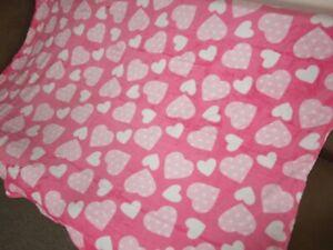 New Pink Valentine's Day Hearts Plush Fleece Throw GIFT Blanket Heart Love SOFT