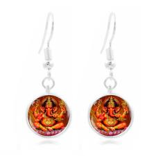 Ganesha Photo Art Glass Cabochon 16 mm Charme Boucle d/'oreille Boucle d/'oreille crochets