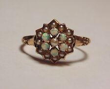Victorian Antique 10K 417 Solid Yellow Gold Opal Seed Pearl Cluster Ring Size 5