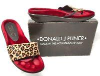 Donald Pliner Fiba Wedge Sandal Thong Slide Leather Leopard Print Red Womens 10M
