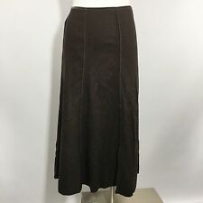 J Jill A Line Skirt Brown LP P Petite L Large Mid Calf Long Inside Out Seam Full