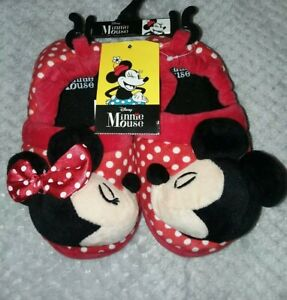 Disney Minnie Mouse Red Polka Dot Rubber Sole Slippers Mickey Girls Sz 9 10 NWT