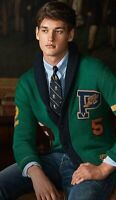 Polo Ralph Lauren Varsity/Letterman Sweater/Cardigan Pwing Patch Green S
