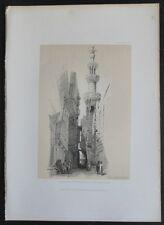David Roberts Authentic 1856 Quarto Lithograph Pl. 225 El-Khomree Mosque Minaret