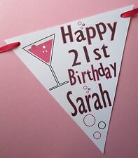 2.5m Personalised Happy Birthday Bunting Flags Party Age Banner Glass Champagne