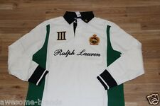 Ralph Lauren Cotton Rugby Crest Polo White Shirt  Large L Custom Fit